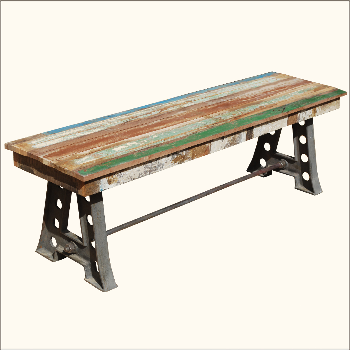 Rustic solid teak wood industrial wrought iron bench for Outdoor furniture benches