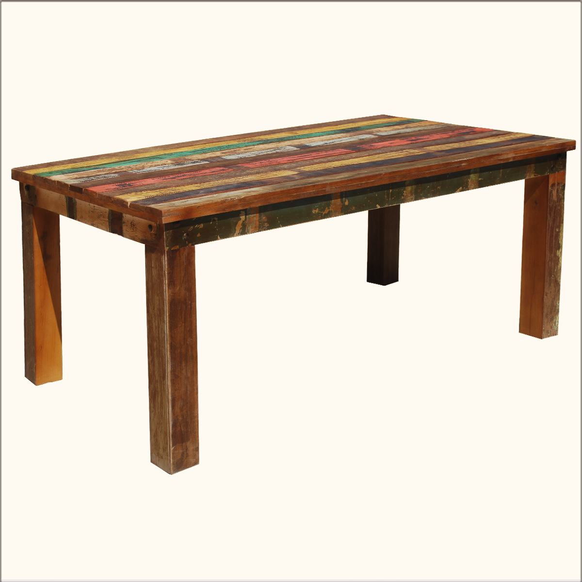 Rustic Solid Teak Reclaimed Wood Distressed Dining Table Furniture for 8 People : eBay