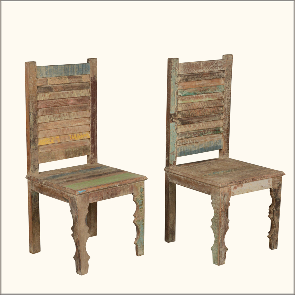 Rustic distressed reclaimed wood multi color kitchen for Wooden dining room chairs
