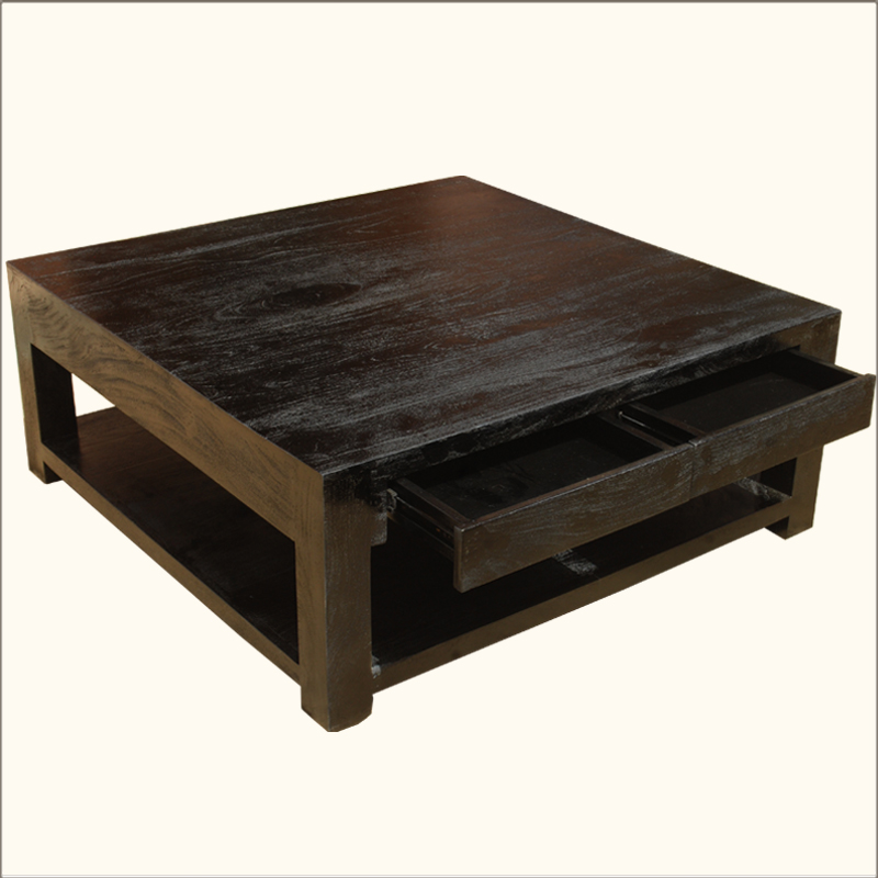 Contemporary Mango Hardwood Espresso Square Rustic Coffee Table Furniture Ebay