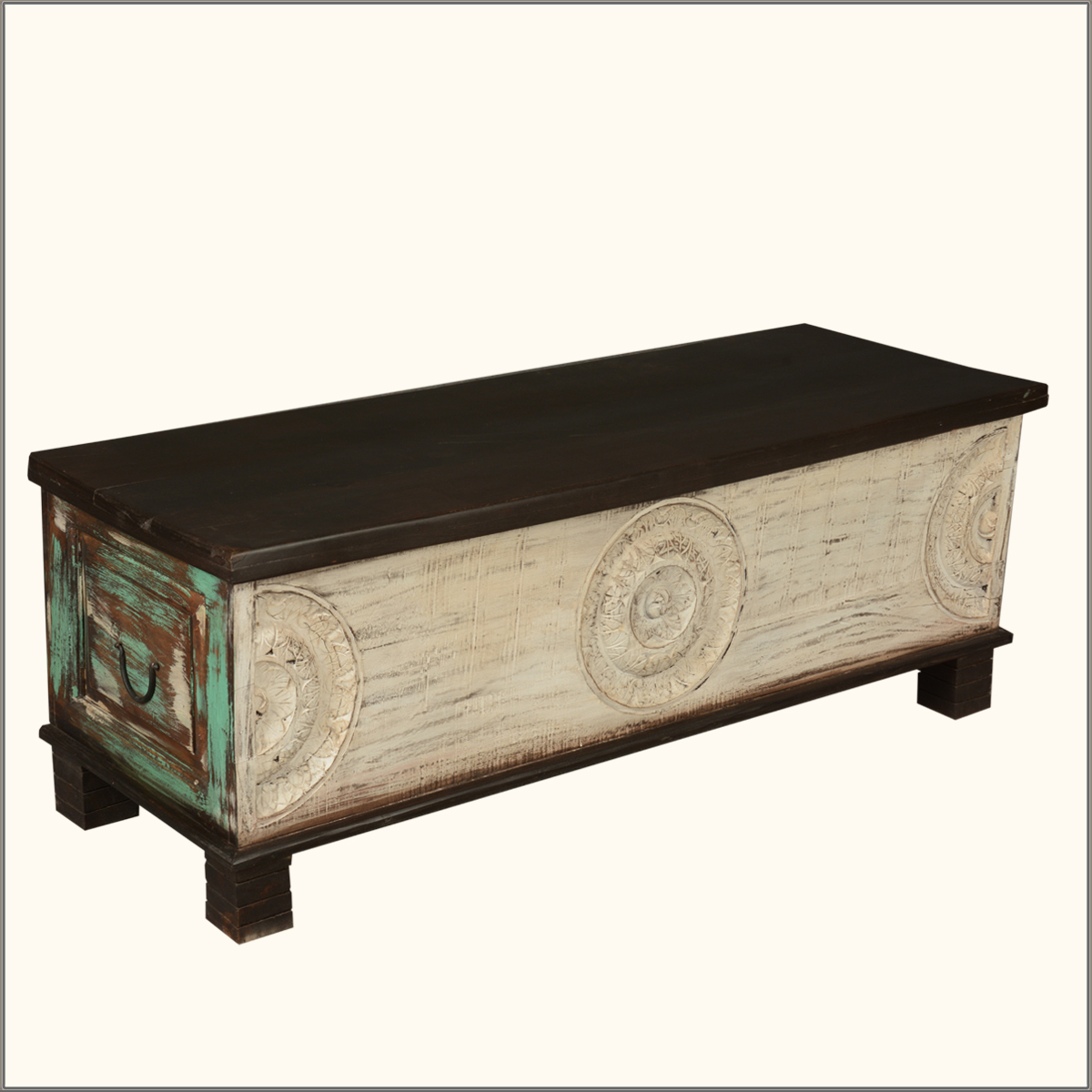 Rustic hand carved painted coffee table chest storage box traditional trunk ebay Coffee table chest with storage