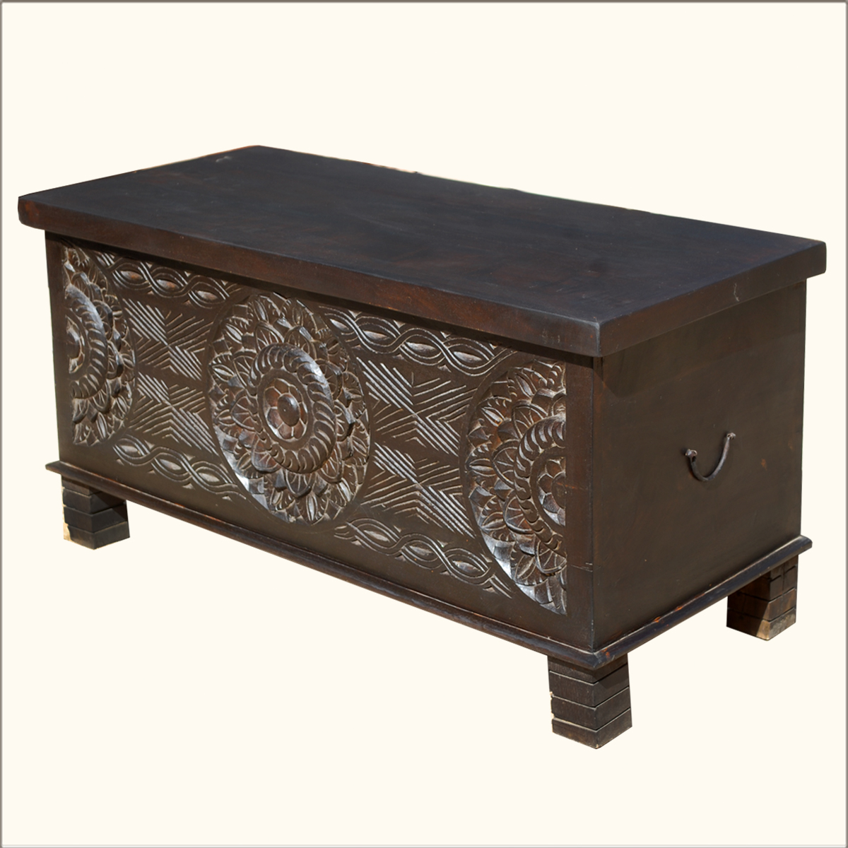 1A. Nottingham Hand Carved Hardwood Elevated Coffee Table Chest