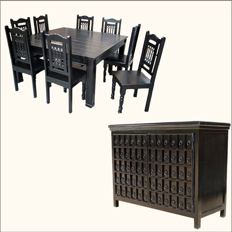 Black Hardwood Dining Room Table 8 Chairs Wrought Iron