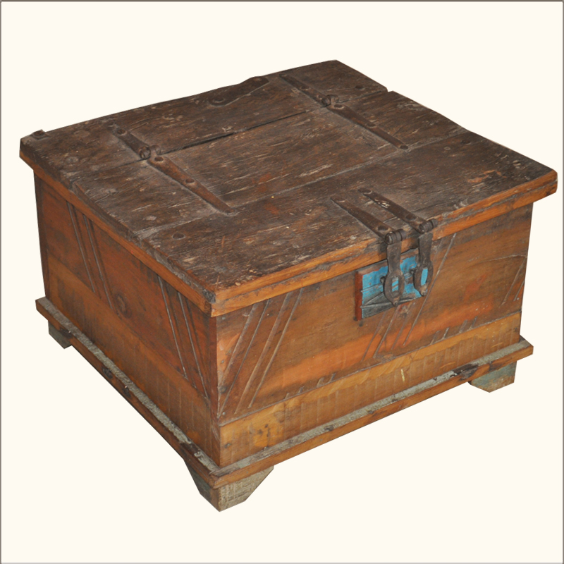 Reclaimed Old Wood Distressed Rustic Square Storage Trunk Coffee Table Chest Box Ebay