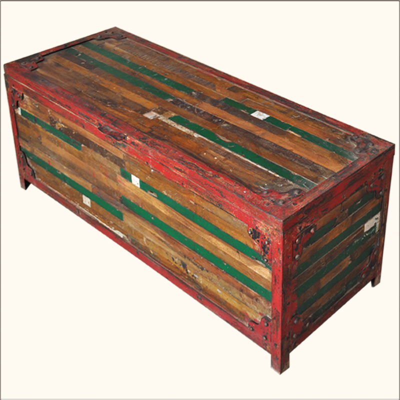 Rustic Coffee Table Chest Multi Color Old Reclaimed Wood