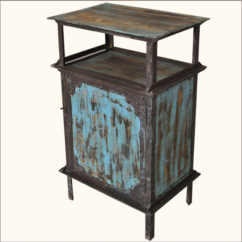 1A. Industrial Blue & Brown Iron Kitchen Cabinet w Open Shelf