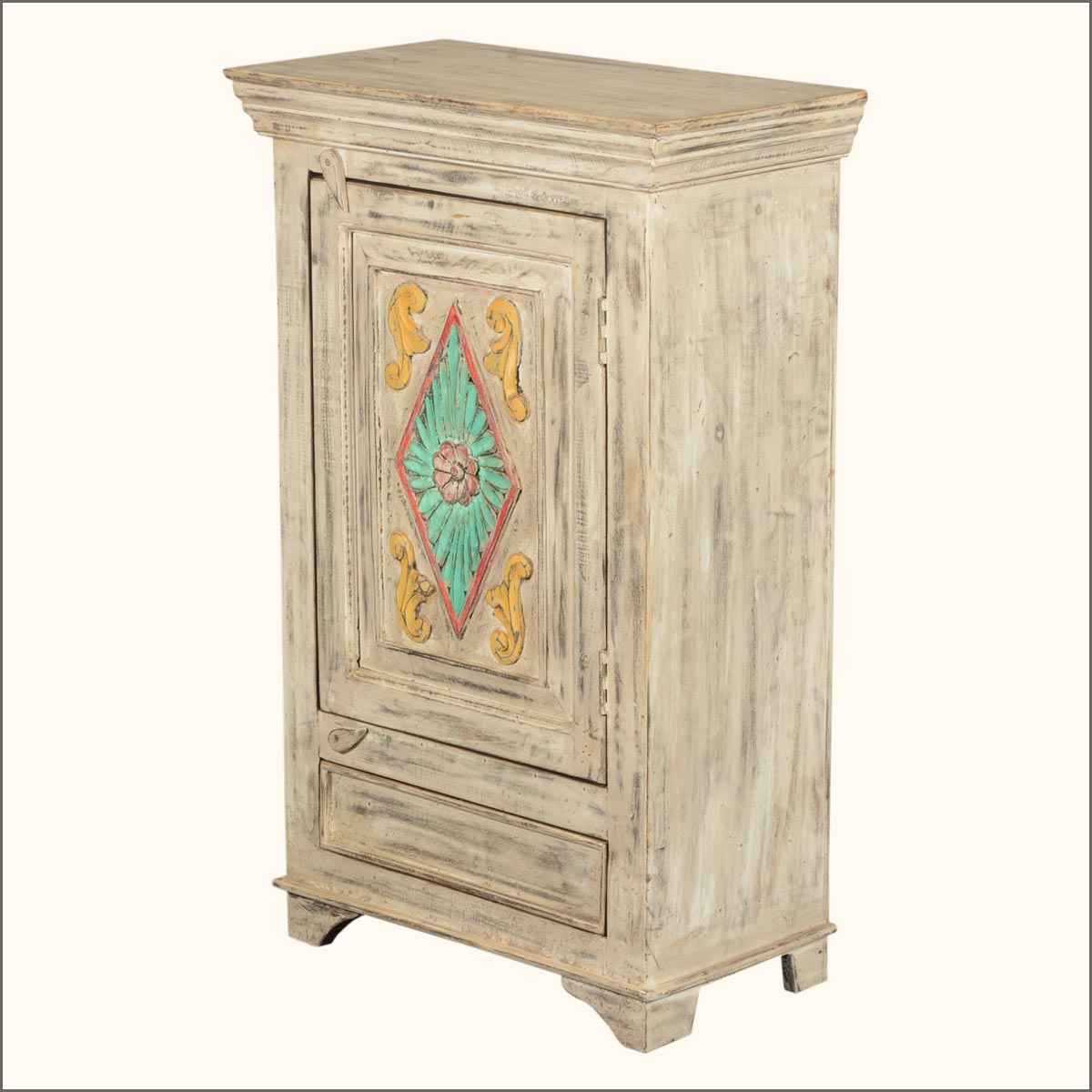 Old Reclaimed Wood Hand Painted Nightstand Bedside End Table Cabinet . Full resolution‎  picture, nominally Width 1200 Height 1200 pixels, picture with #9E6A2D.