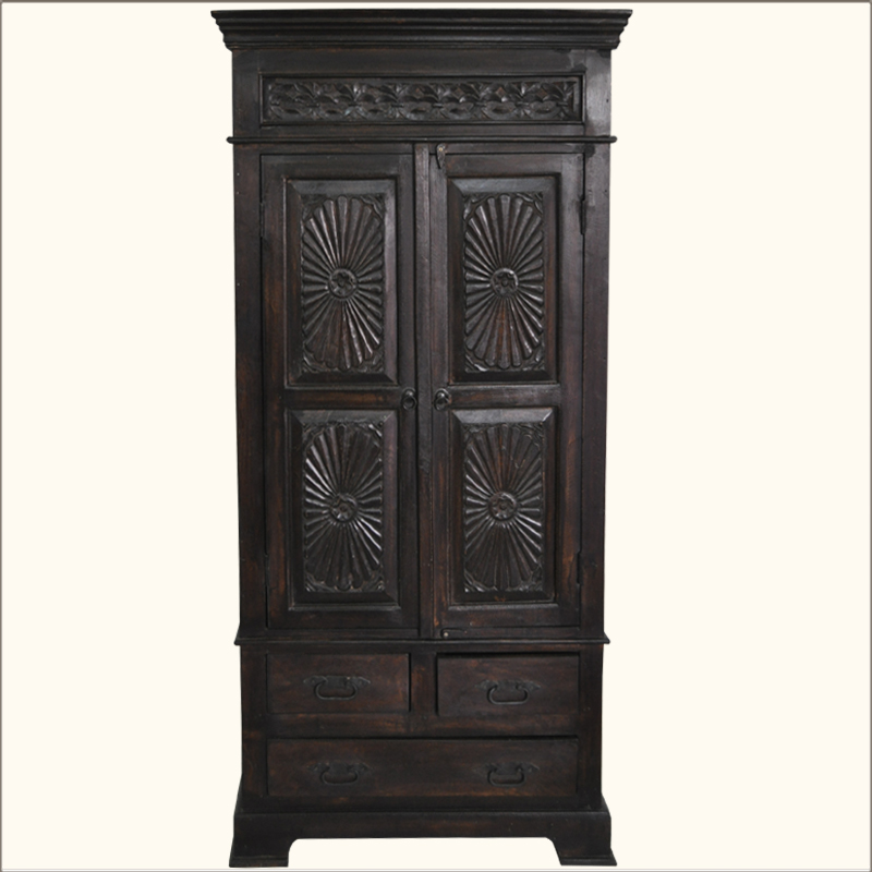 1. Lincoln Study Traditional Hardwood Armoire Cabinet w Drawers