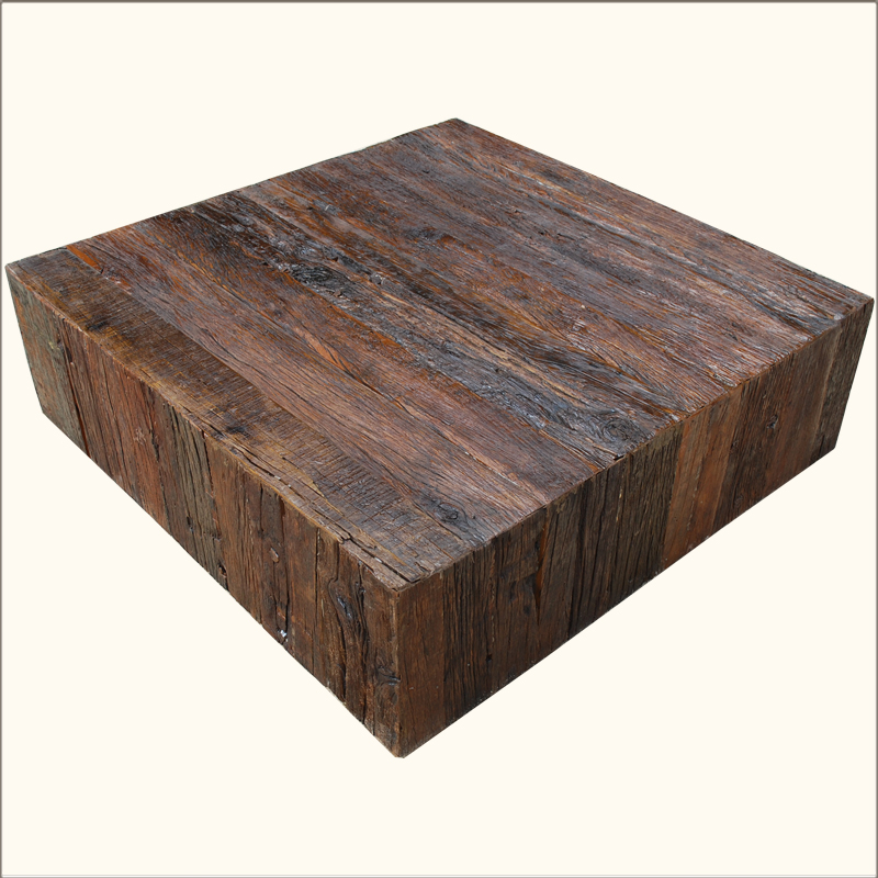 1. Appalachian Rustic Railroad Ties Square Box Style Coffee Table
