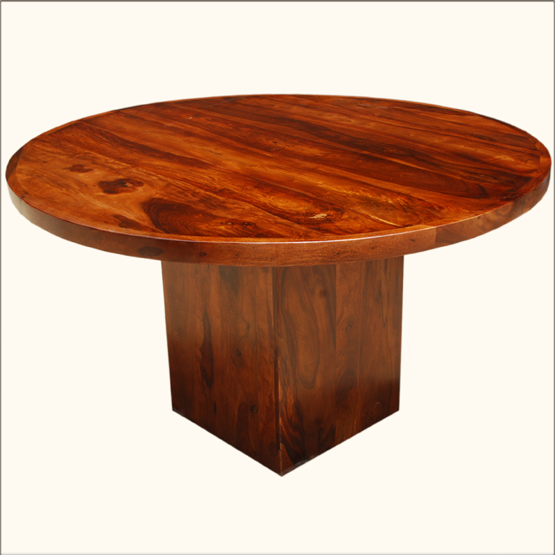 Modern solid wood round circular square pedestal for Solid wood round dining room table