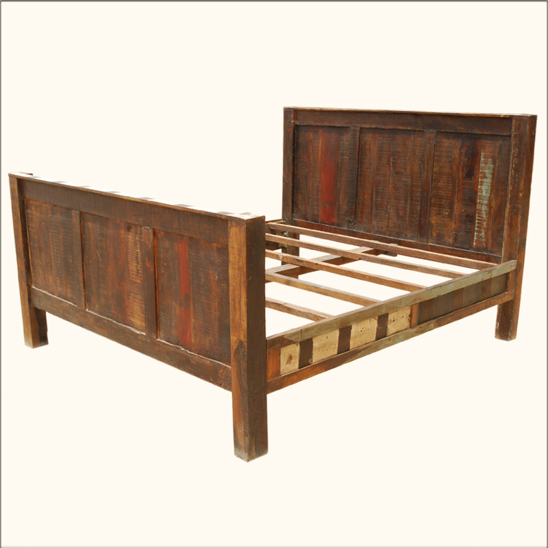Reclaimed wood rustic distressed california king bed for King footboard