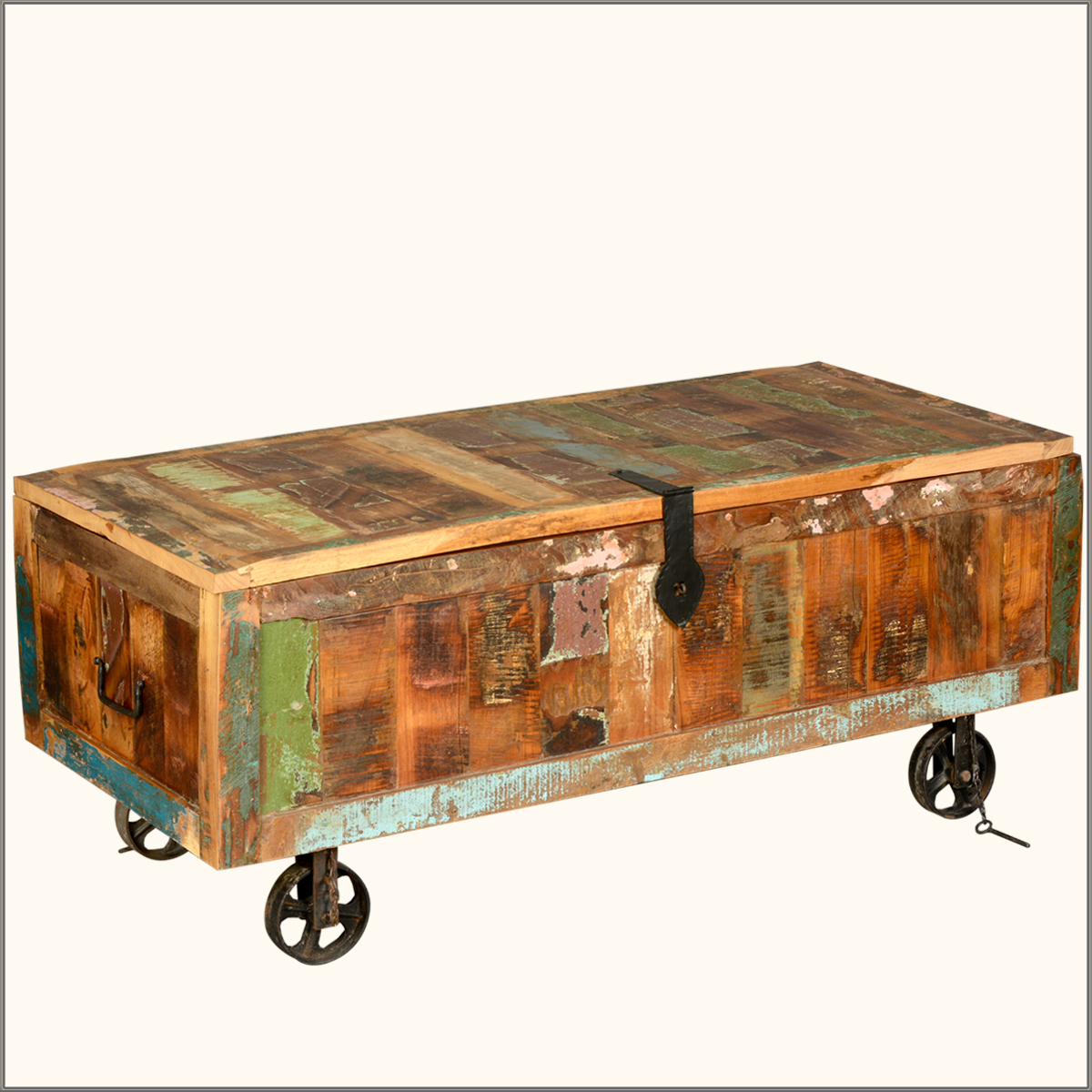 Rustic old reclaimed wood wrought iron weathered trunk for Coffee tables on wheels
