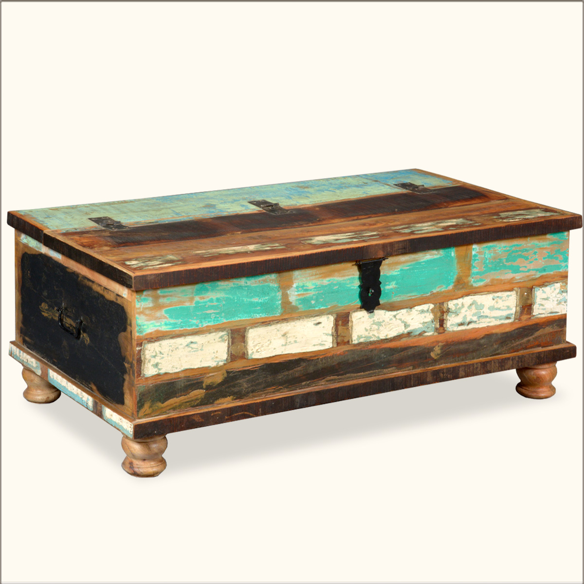Trunk coffee table reclaimed wood distressed rustic storage box chest furniture ebay Coffee table chest with storage