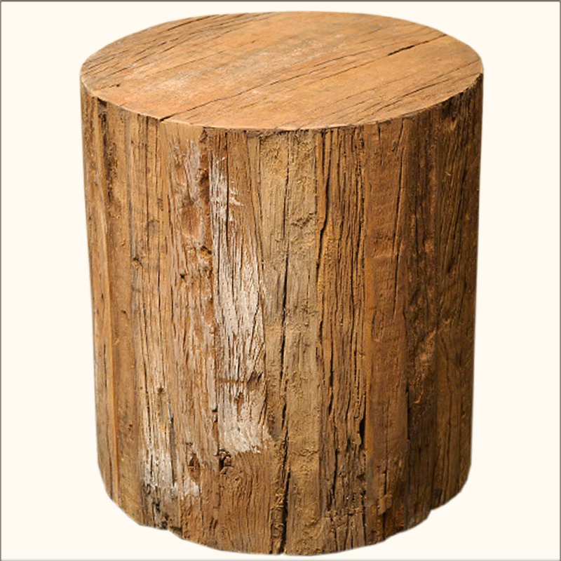 1A. Eco-Smart Solid Hardwood Tree Trunk Stool