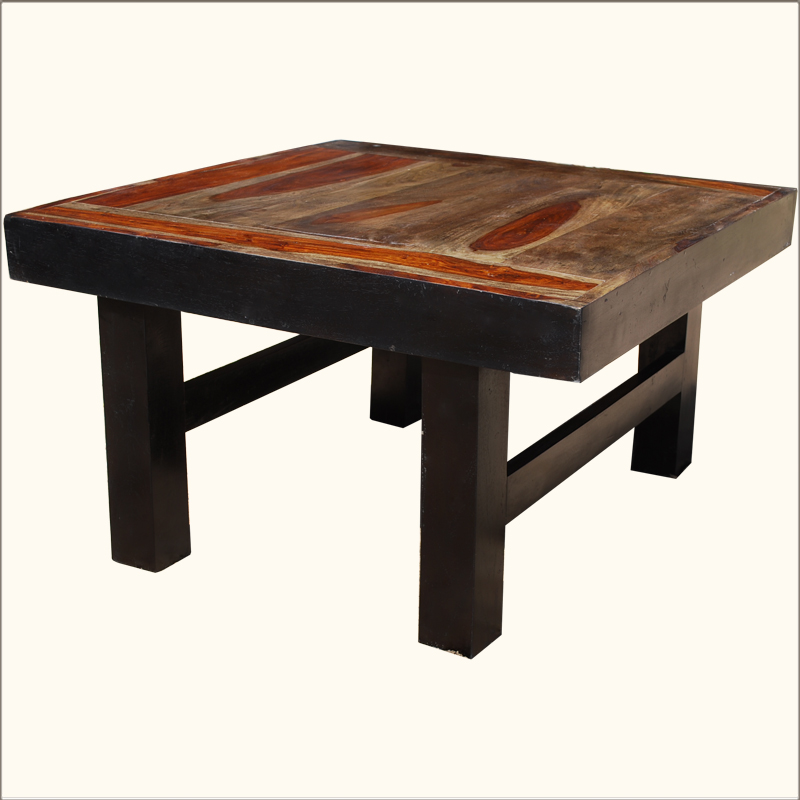Rustic Square Coffee Table Cocktail Sofa Solid Wooden Furniture Ebay