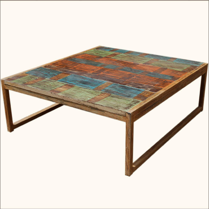 Rustic Primitive Wooden Wrought Iron Cocktail Oversized Coffee Table Furniture Ebay