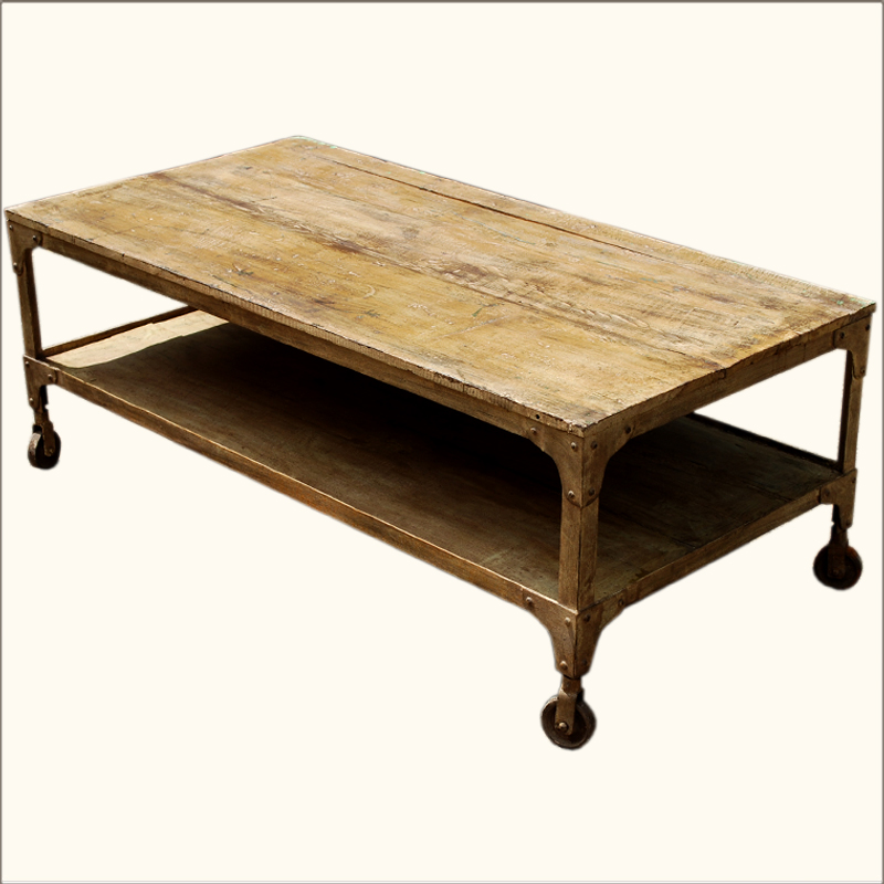 1. Industrial 2-Tier Old Wood & Iron Rolling Coffee Table 