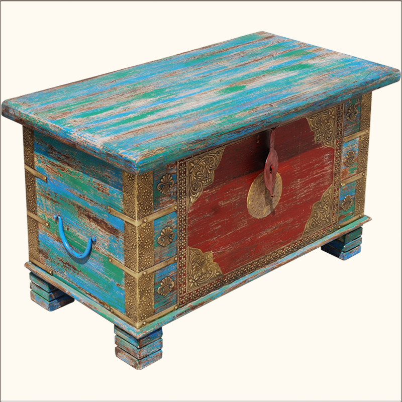 Multi Color Hand Painted Brass Inlay Iron Wood Storage Box Trunk Coffee Table