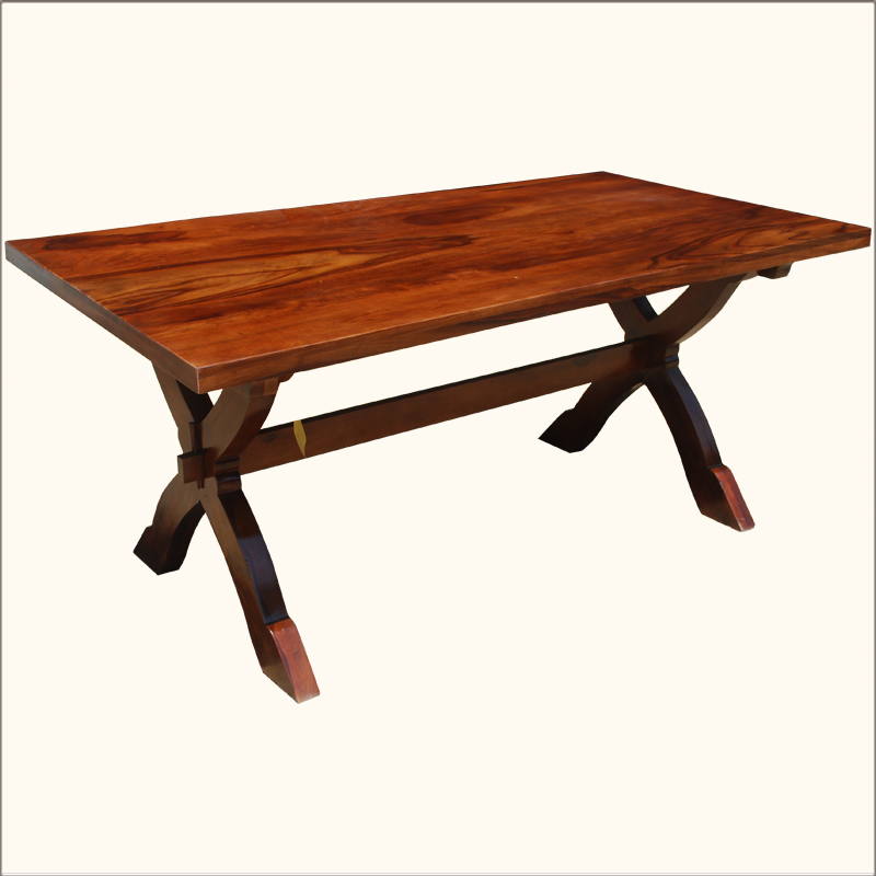 rustic pedestal large dining table 71 rectangular solid wood furniture ebay. Black Bedroom Furniture Sets. Home Design Ideas