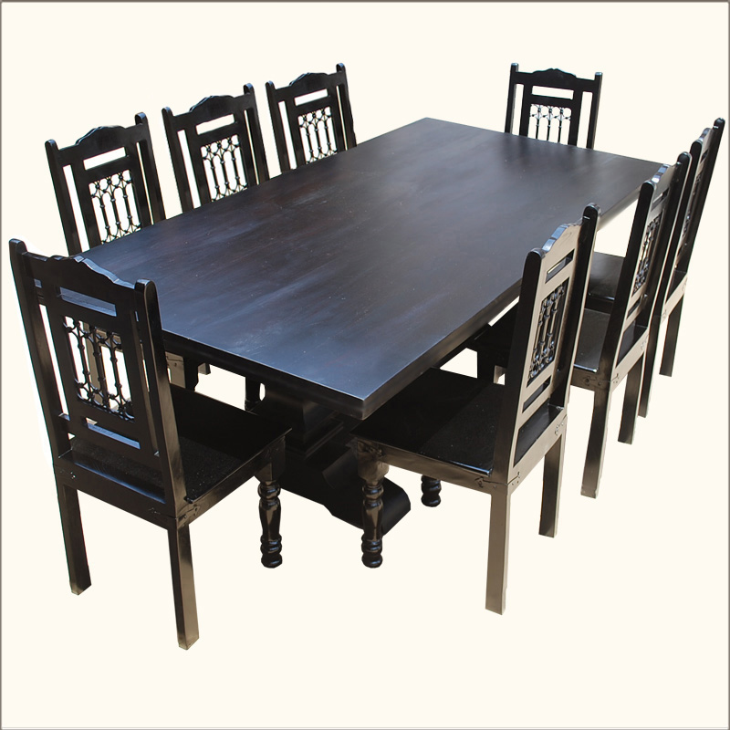 Rustic Furniture Solid Wood Large Dining Table 8 Chair Set: Rustic Solid Wood Large Pedestal Trestle Dining Table