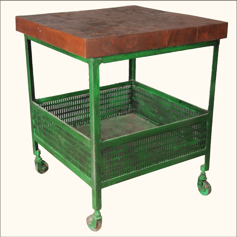 Industrial Rolling Kitchen Cart: Industrial Iron & Wood Square Green Kitchen End Table
