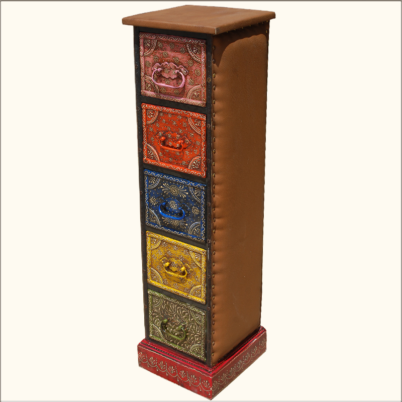 hand painted leather wooden 5 storage drawer pillbox