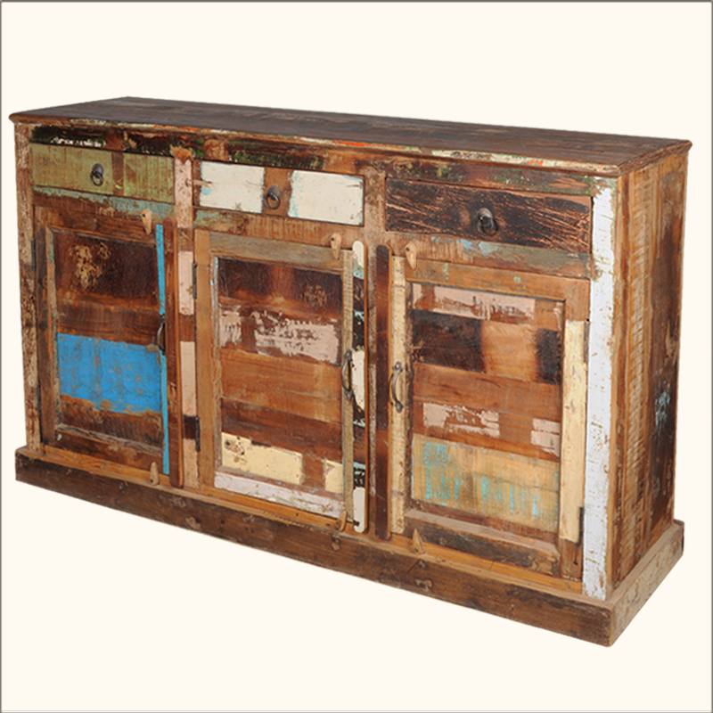 Rustic Old Reclaimed Wood Distressed Drawer Buffet Cabinet