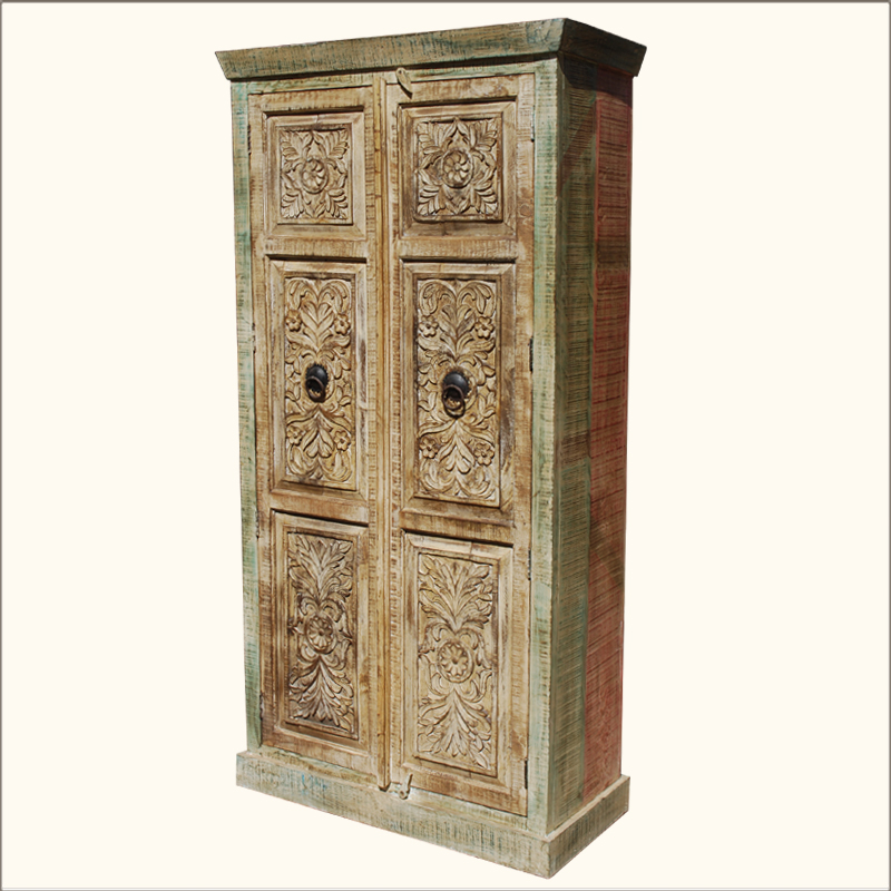 1B. Camelot Hand Carved Tropical Hardwood Armoire