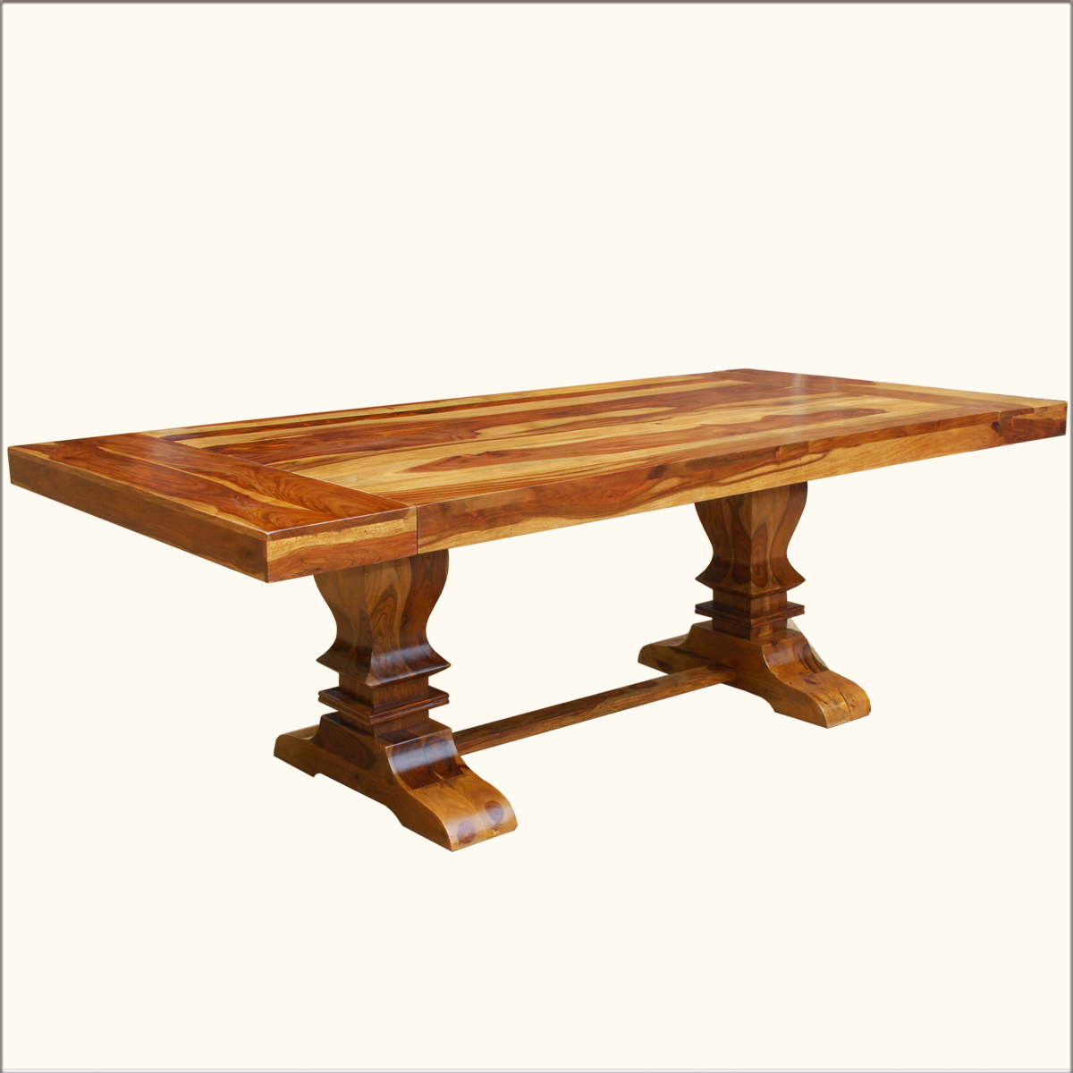 Large trestle pedestal dining table extension for 10 seats for Solid wood dining table