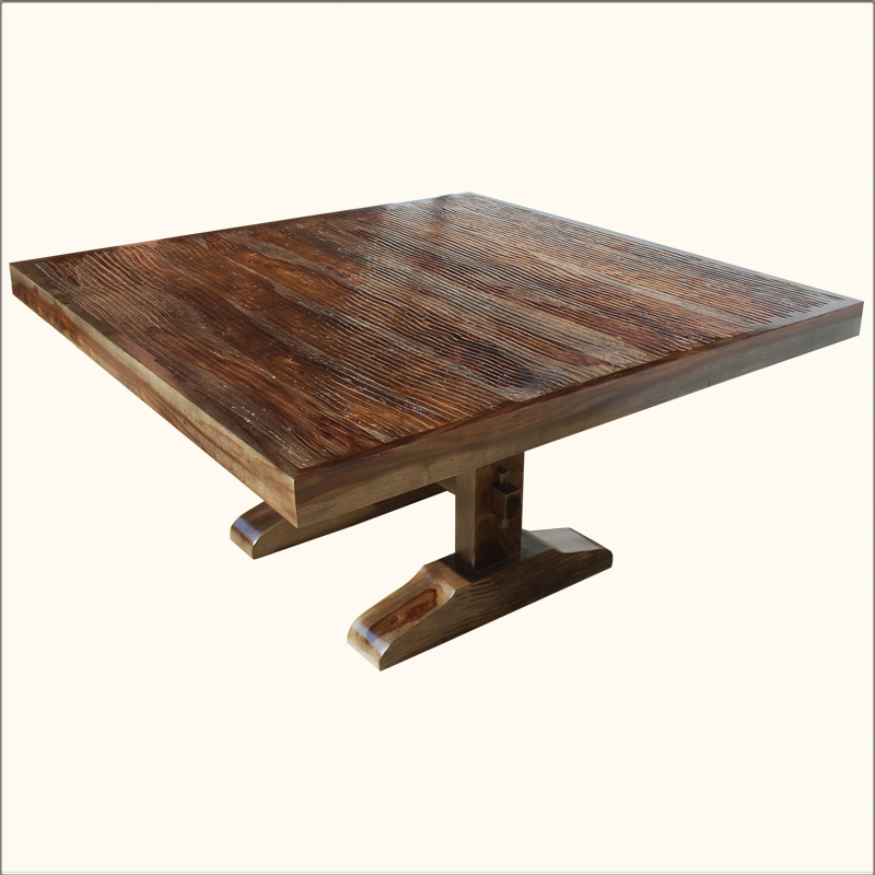 8 Chair Square Dining Table: 60 Square Rustic Dining Room Table For 8 Solid Wood Trestle Pedestal Furniture