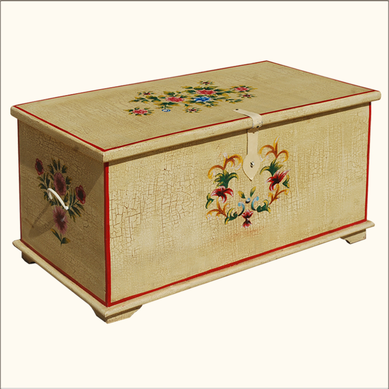 rustic storage coffee table hand painted wooden chest