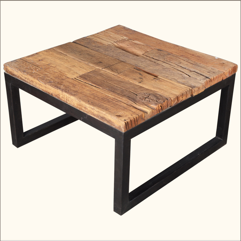 Industrial Iron Reclaimed Railroad Ties Wood Square Coffee Table Furniture Ebay