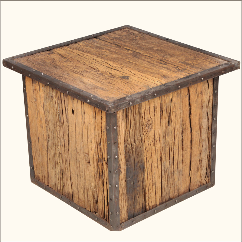 Industrial Iron Old Reclaimed Wood Railroad Ties 24 Cube Accent Coffee Table