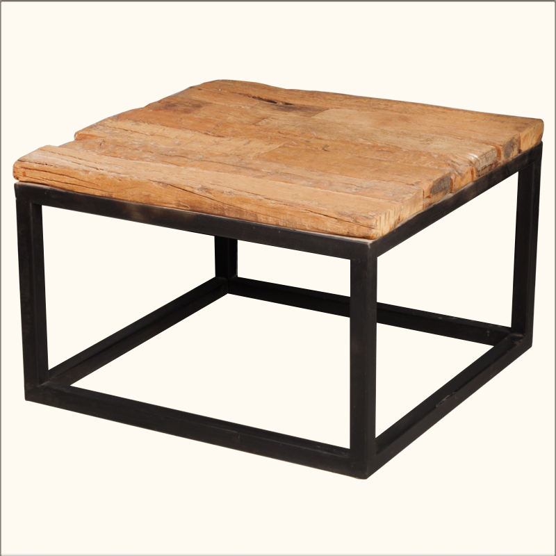 Industrial Iron Railroad Ties Reclaimed Wood 27 Square Rustic Coffee Table Ebay