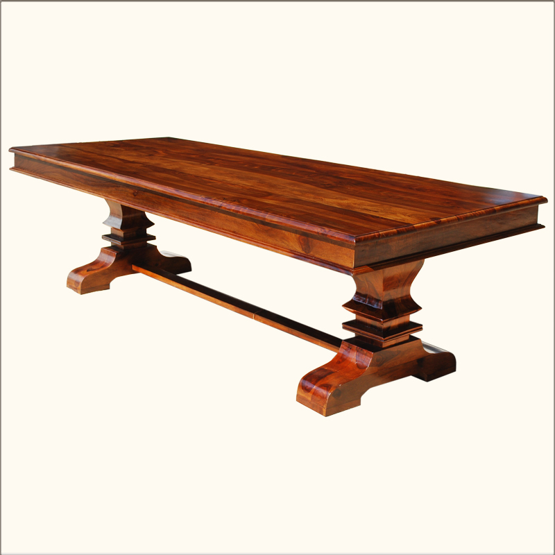 Rustic transitional large seats 10 solid wood trestle for Large dining table seats 10