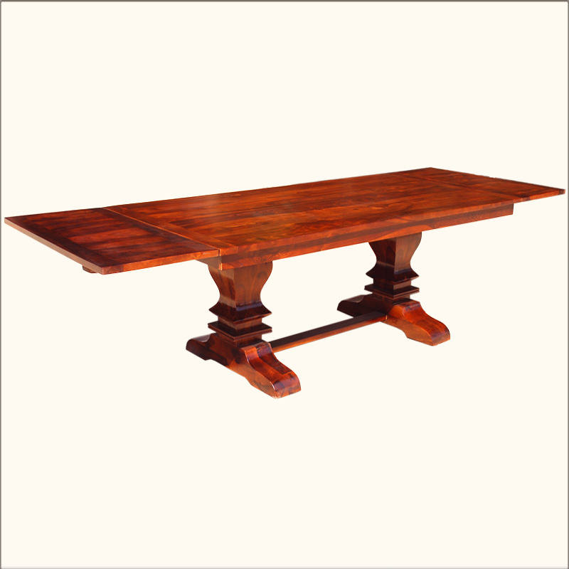 Large trestle pedestal farmhouse dining table with for 12 seater wooden dining table