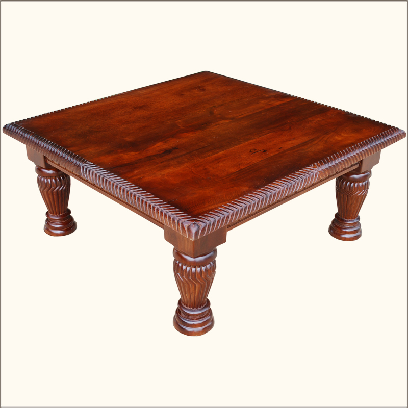 1A. Lincoln Study Square Tropical Hardwood Hand Carved Coffee Table