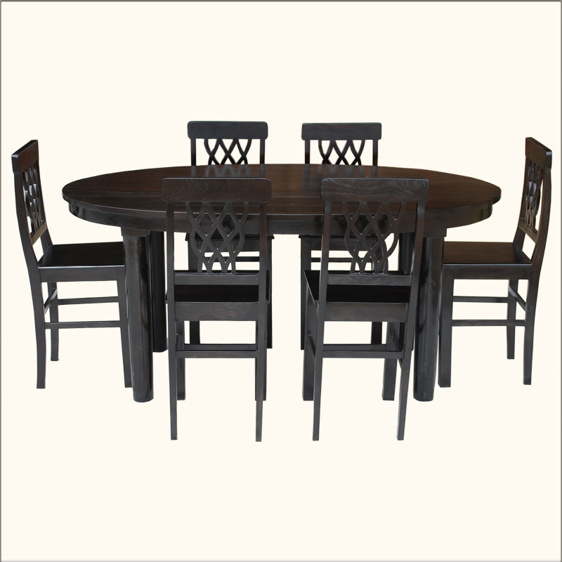Contemporary 7pc oval kitchen counter dining table rustic 6 seater chairs set ebay - Oval kitchen table sets ...