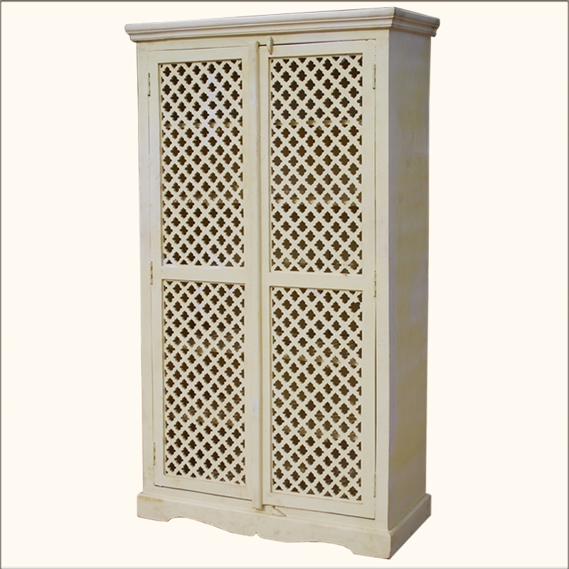 1A. Farmhouse White Hardwood Lattice Door Armoire Wardrobe