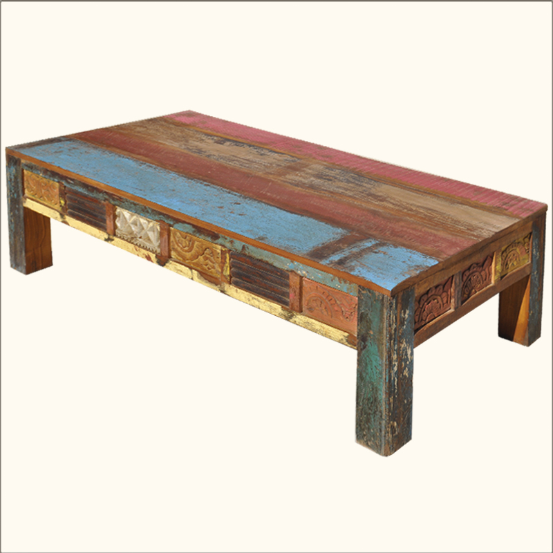 Old Reclaimed Wood Rustic Hand Carved Distressed Painted Coffee Table Furniture Ebay