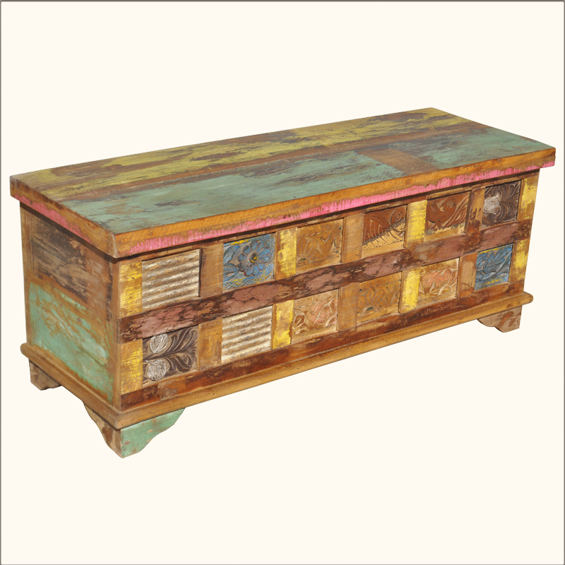 Coffee Table With Storage Ebay: Old Reclaimed Wood Rustic Painted Coffee Table Storage