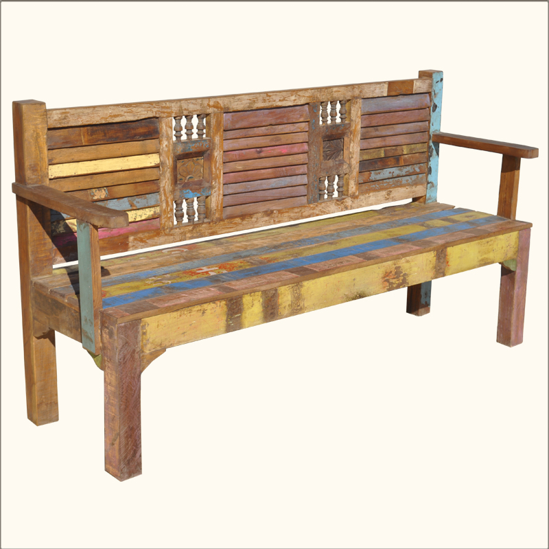 Appalachian Rustic Reclaimed Old Wood Multi Color Outdoor Garden Patio Bench Ebay