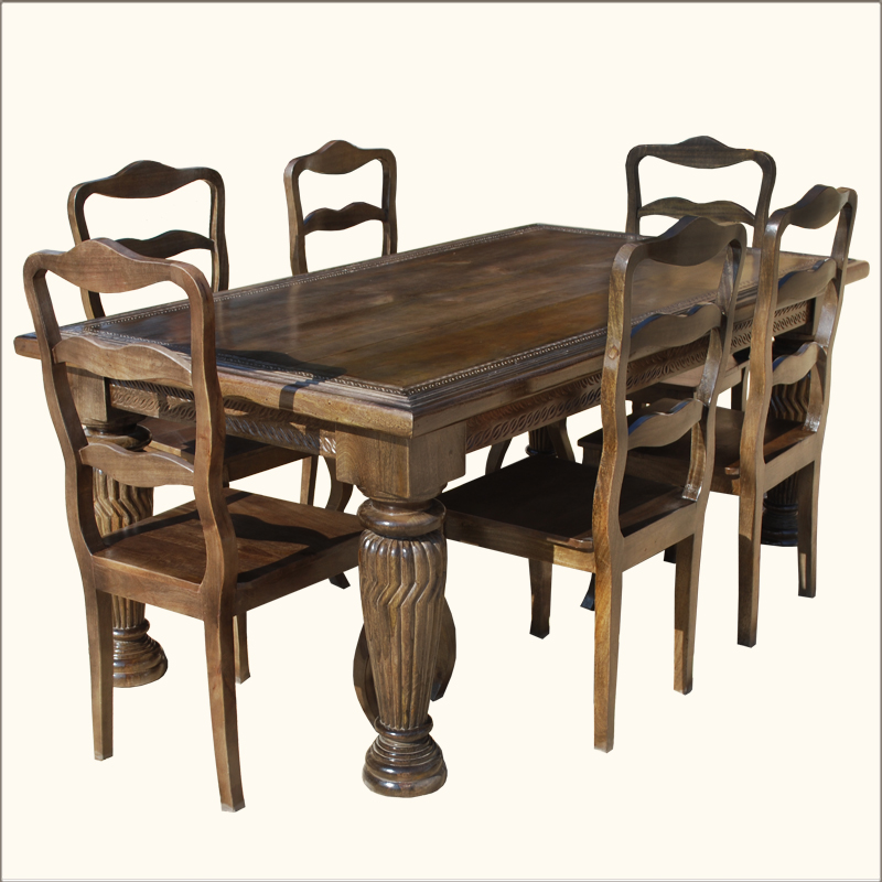 wood carved vintage style 7pc dining table chair set furniture ebay
