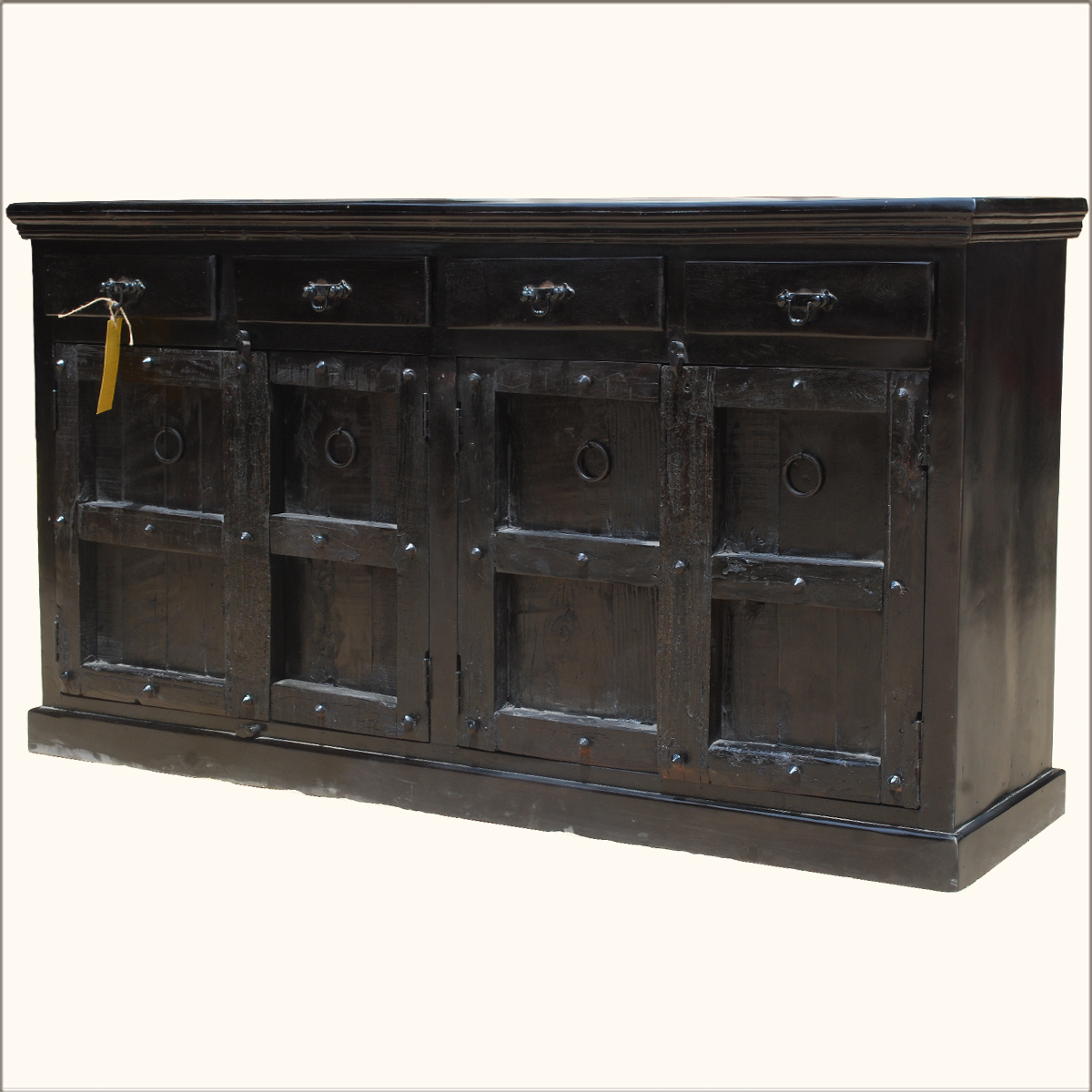 Black Wood Buffets ~ Reclaimed buffet table black wood rustic sideboard chest
