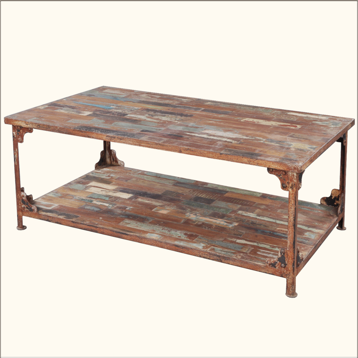 1. Distressed Reclaimed Wood Industrial Coffee Table