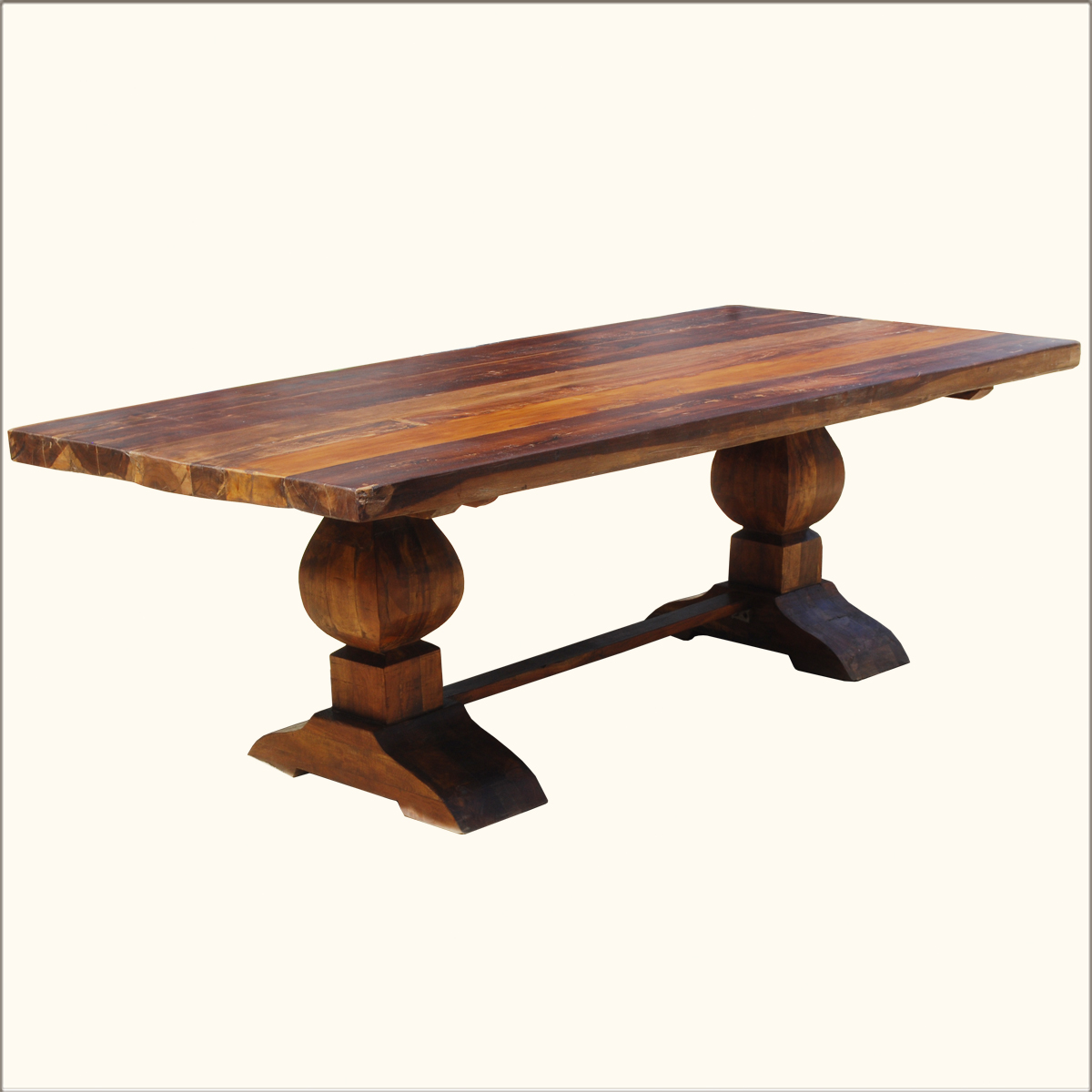 Rustic reclaimed wood double trestle pedestal large 10 person dining room table ebay Trestle dining table
