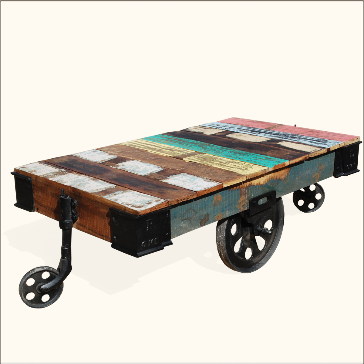 Rustic wood rolling factory cart industrial coffee table for Coffee tables on wheels