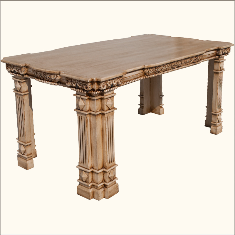 Roman pillar hand carved mango wood traditional dining for Pillar dining table