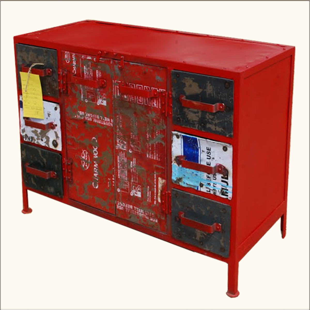 industrial wrought iron red 3 drawer storage cabinet. Black Bedroom Furniture Sets. Home Design Ideas