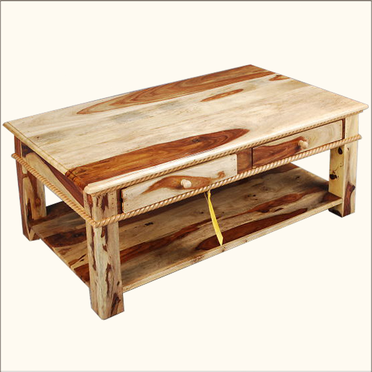 1. Solid Wood 2 Storage Drawer Carved Border Coffee Table